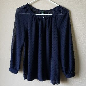 J. Crew factory Dotted keyhole Peasant top size S